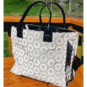 Kate Landry Large Tapestry & Patent Tote Bag